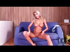 Solo blonde with breathtaking big tits tubes