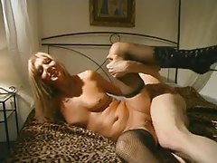 Leggy blonde milf in stockings fucks younger man tubes