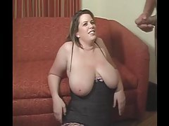 Fucking the face of a fat chick in lingerie tubes