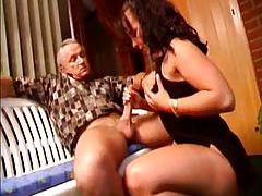 Old guy gets handjob and balls fondled tubes
