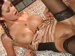 Busty pigtailed minx gets her shaved pussy ploughed tubes