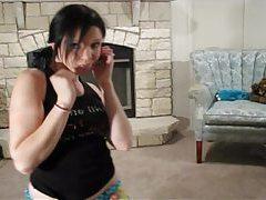 Lustful Rylie dance in her cute blue panties tubes