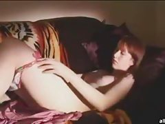 Adorable redhead amateur cutie rubs her pink pussy tubes