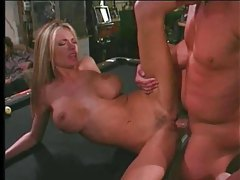 Blonde with huge tits gets her pussy pumped deep tubes