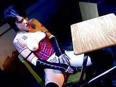 Goth schoolgirl with tattoos plays dirty tubes