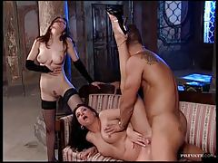 Two frisky sluts suck his cock ass to mouth tubes