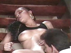 Latina babe gets her holes fucked on the stairs tubes