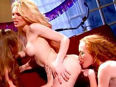 Lesbian threesome with toys and fingering tubes