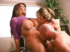 Two busty babes get their holes played with tubes