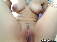 Beautiful tattooed and pierced girl fingers vagina tubes