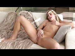 Slender blonde with tiny tits rubs her pussy tubes