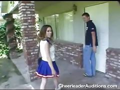 Petite brunette cheerleader with tiny tits rides dick tubes