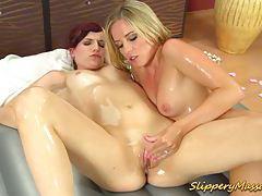 Slippery massage lesbian babes tubes