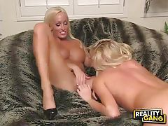 Busty blonde fucks her perky friend with a dildo tubes
