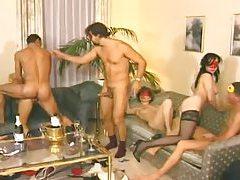 Masked men fuck hot sluts at an orgy tubes