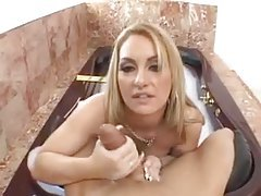 Sexy POV blowjob from a beauty in the bathtub tubes