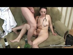 Drunk slut sucks on his small dick tubes