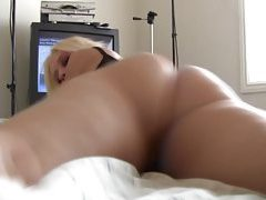 Horny blonde in tiny panties exposes her pussy tubes