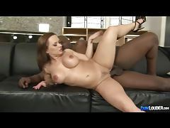 Fiery redhead with huge tits enjoys big black dick tubes
