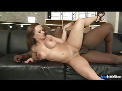Fiery redhead with huge tits enjoys big black dick tubes