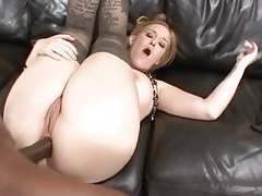 Big black cock nails curvy white girl in stockings tubes