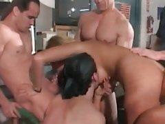 Cock hungry blonde gets her holes filled in hot gangbang tubes