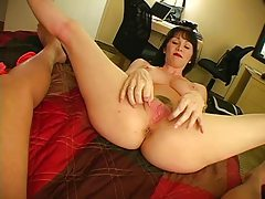 Busty milf teases cock with her hands tubes