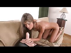 Slender blonde hottie with amazing body fucking her dildo tubes