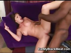 Big titty brunette beauty smothers thick black dick tubes