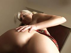 Horny blonde grinds cock with her shaved twat tubes