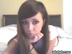 Adorable brunette teen in cute panties teasing us tubes