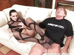 Busty brunette in hot stockings fucks with her feet tubes