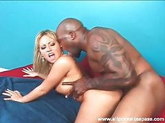 Black cock fucks her box and cums in her mouth tubes