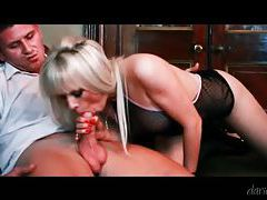 Hot blonde keeps lingerie on to get laid tubes