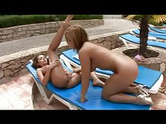 Lezzies lube up outdoors and play with pussy tubes