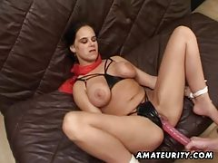 Busty amateur girlfriend toying, fucking with facial cumshot tubes
