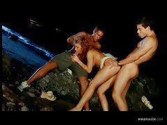 Flawless curly hair girl threesome on beach tubes
