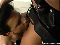 Latex milf takes his ass with strapon tubes