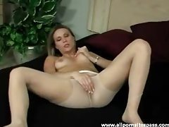 Leggy blonde milf in pantyhose fingering her tight twat tubes