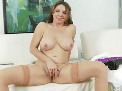 Busty babe with hairy pussy fucking her pussy with dildo tubes