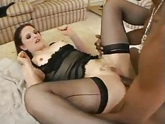 Wet white pussy on lingerie hottie takes BBC tubes