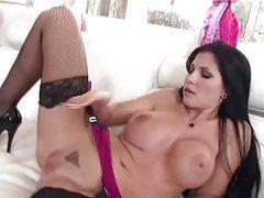 Fake tits pornstar Rebeca Linares lingerie tease tubes