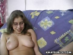 Hairy amateur wife toys and rides a cock with cumshot tubes