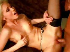 Skinny slut in sexy stockings fuck and facial tubes