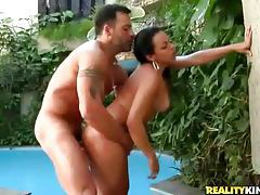 Luscious Latina minx getting pumped by the pool tubes