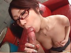 Cute Japanese girl in glasses sucks cock tubes