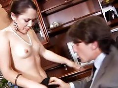 Gorgeous hot cocksucker in office tubes