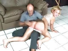 Naughty blonde getting spanked by older man tubes