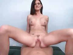 Leggy hottie with huge tits impaled on massive wang tubes