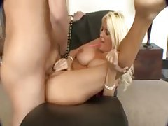 Bimbo slut with great fake tits boned tubes